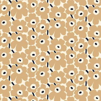 Pieni Unikko Cotton Fabric in natural white, beige, dark blue
