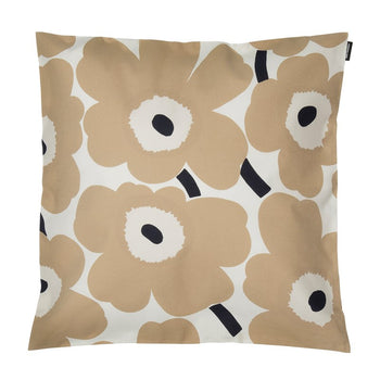 Pieni Unikko Cushion 50cm in off-white, beige, dark blue