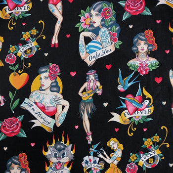 Don't Gamble with Love Fabric in black