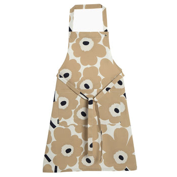 Pieni Unikko Apron in off-white, beige, dark blue