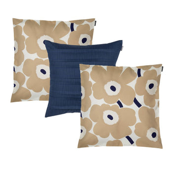 Pieni Unikko in beige, dark blue 3 Cushion Bundle