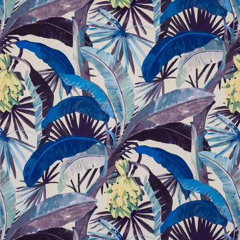 Tropicalia Outdoor Fabric in porcelain blue