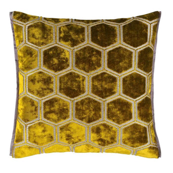 Manipur Ochre Cushion 43cm in yellow