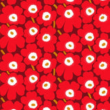 Pieni Unikko Fabric in dark red, brown