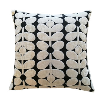 Sixties Stem Velvet Cushion 40cm in charcoal
