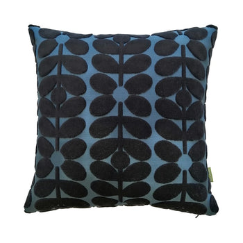 Sixties Stem Velvet Cushion 40cm in dark marine