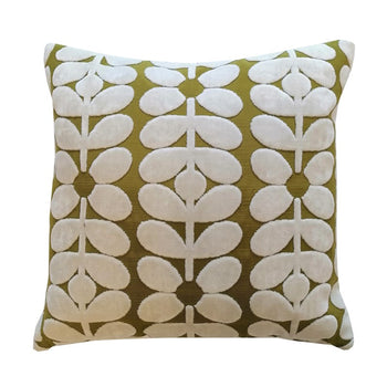 Sixties Stem Velvet Cushion 40cm in yellow