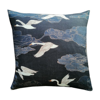 Wild Swans Linen Cushion 50cm in midnight