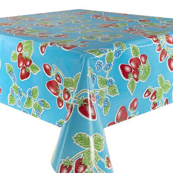 Strawberries Oilcloth in blue