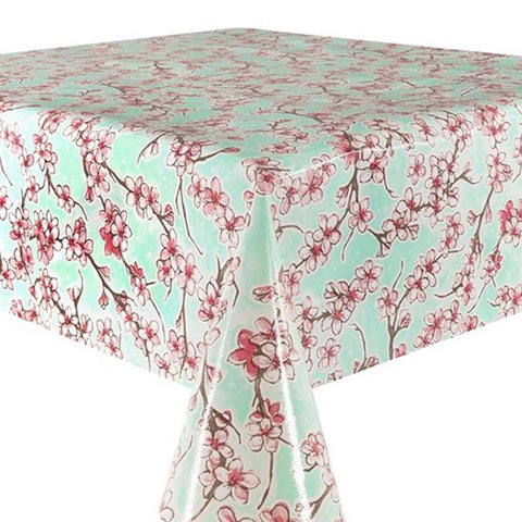 Cherry Blossom Oilcloth in mint