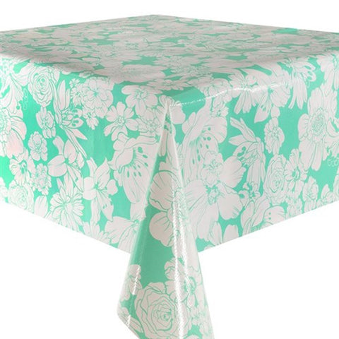 White Flowers Oilcloth in mint