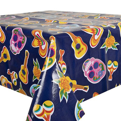 Skulls Oilcloth in dark blue