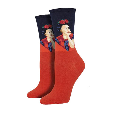Pensive Frida Women's Socks in Red