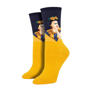 Pensive Frida Women's Socks in Yellow