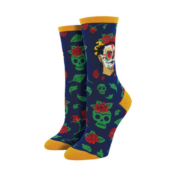Dia De Los Frida Women's Socks in Navy
