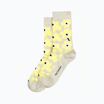 Hieta Unniko Socks in light grey, yellow, black