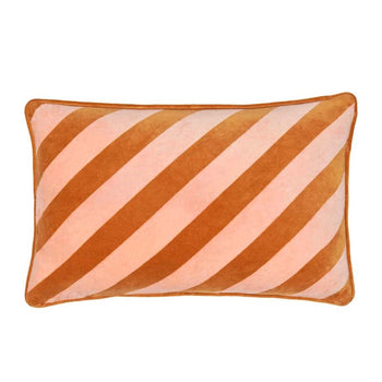Pink Stripe Velvet Lumbar Cushion 43cm
