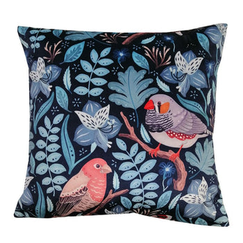 Finches Velvet Cushion 43cm in blue