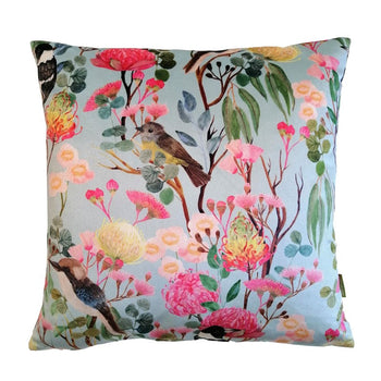 Birds and Forest Velvet Cushion 43cm in blue