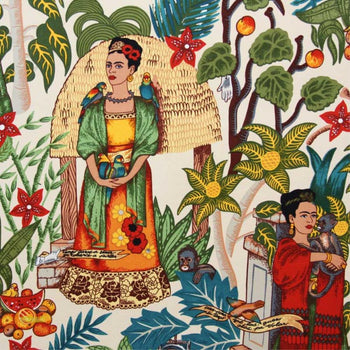 Frida's Garden in tea- Heavy Weight Fabric