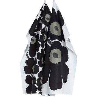Unikko Tea Towel pair in black, white