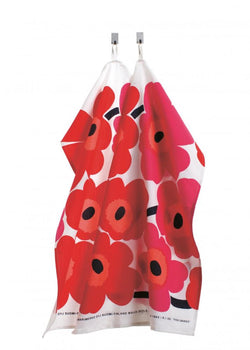 Pair of Marimekko T- Towels in Pieni Unikko in White, Red