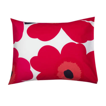 Unikko Pillow Case 50x70cm in white, red