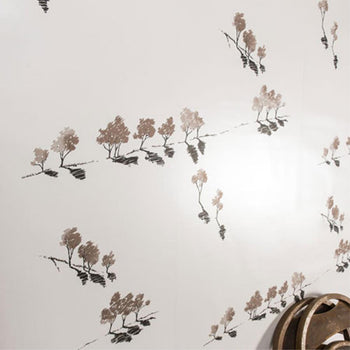 Manuka Wallpaper in Mica Warm Grey Bronze