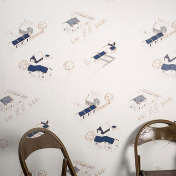Village Prospect Wallpaper in Tan Navy Orange