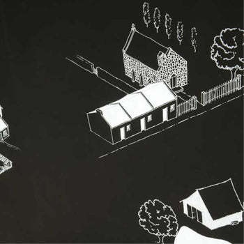 Village Prospect Wallpaper in Black Light Grey Mid Grey