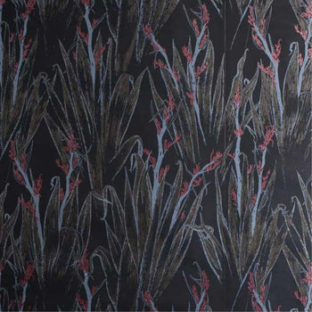 Flax Wallpaper in Black Silver 30% Gold 10% Red Copper