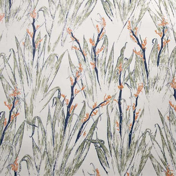 Flax Wallpaper in Tan Green Gold Navy Orange