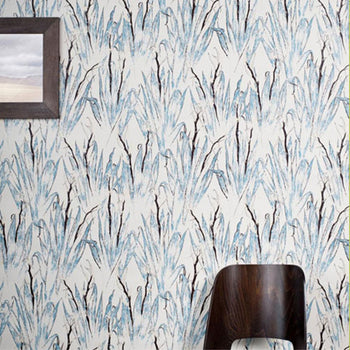 Flax Wallpaper in Tan Pale Blue Chocolate Gold