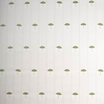 Brollies Wallpaper in Tan Green Gold Light Grey