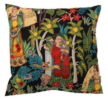 Frida's Garden Cushion Cover in black 45cm