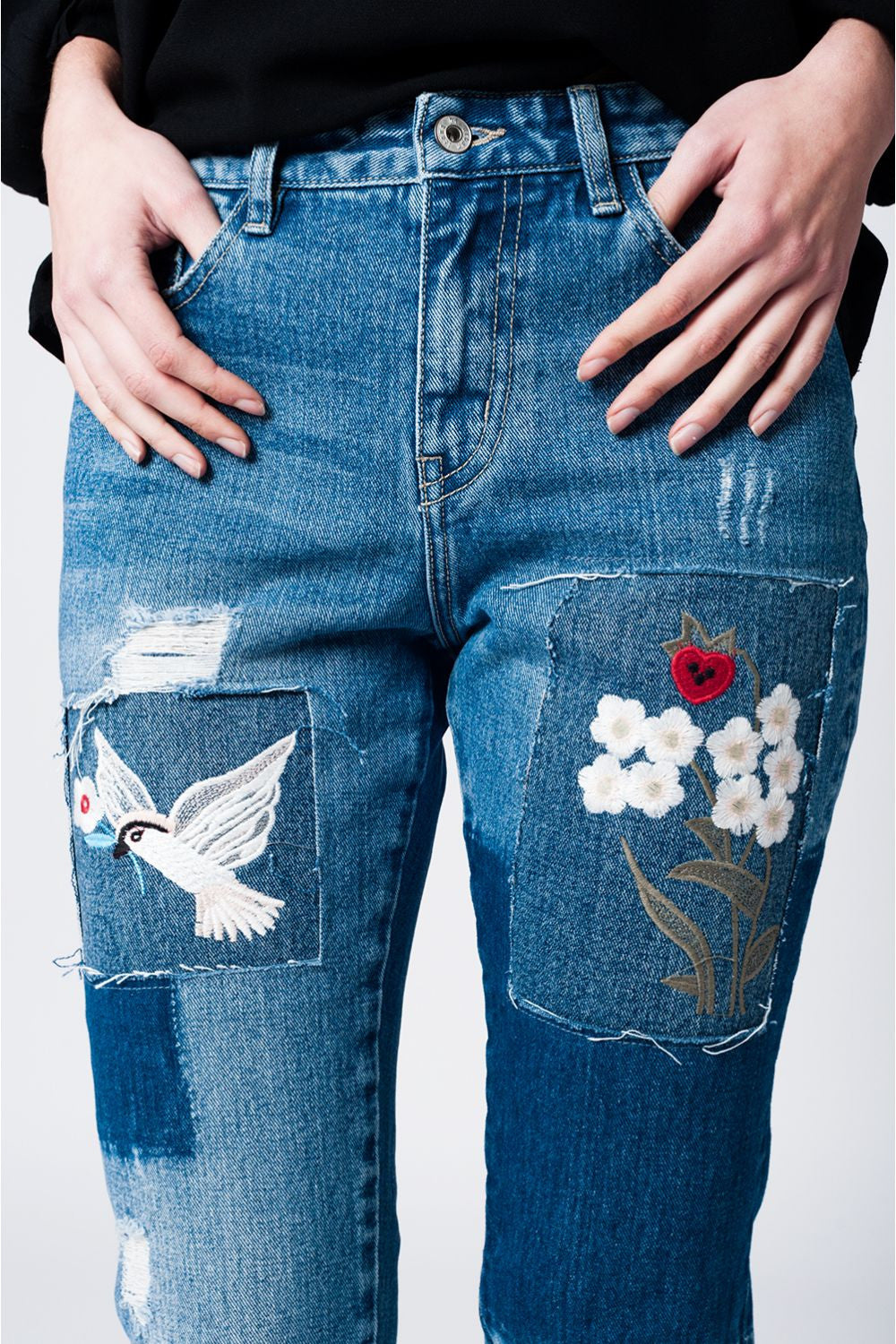 Floral Patched Denim