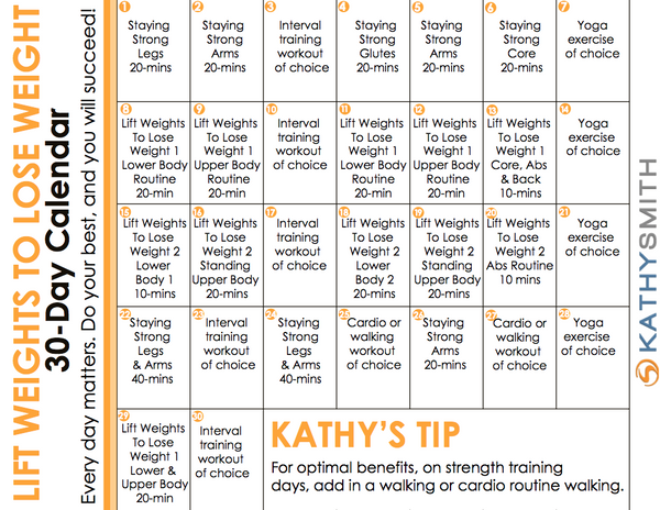 Lift Weights To Lose Weight 30 Day Program Kathysmithfitness