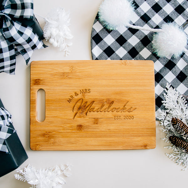 Mr & Mrs Personalized Rectangle Bamboo Cutting Board