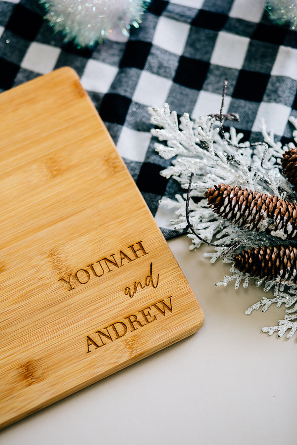 Custom Engraved First Names Rectangle Bamboo Cutting Board