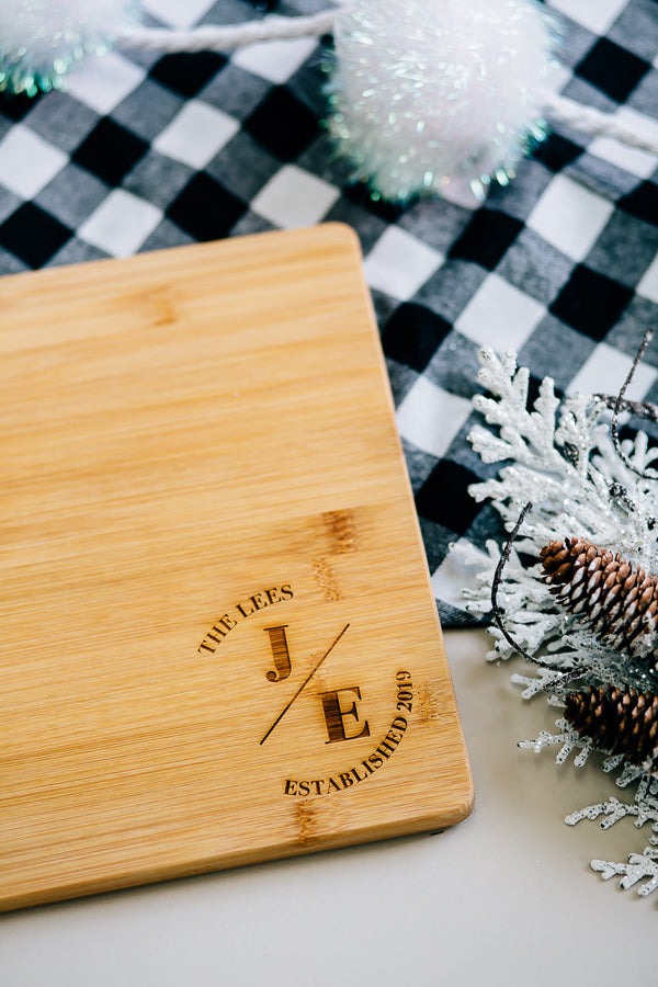 Round Monogram Custom Engraved Rectangle Bamboo Cutting Board