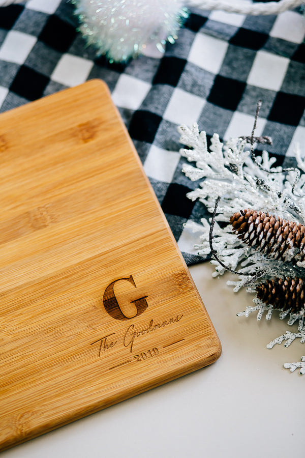 Personalized Monogram Rectangle Bamboo Cutting Board