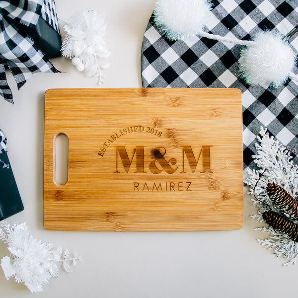 Monogram Custom Engraved Rectangle Bamboo Cutting Board
