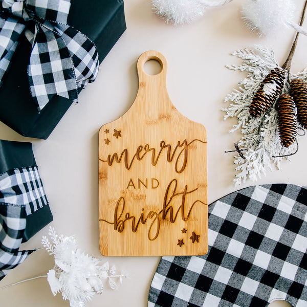 Merry & Bright Holiday Paddle Bamboo Cutting Board