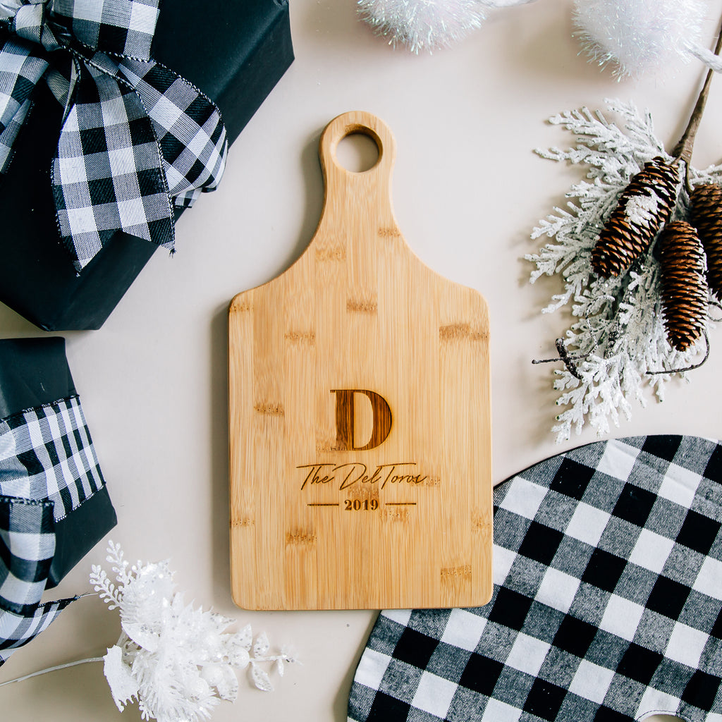 Personalized Monogram Engraved Paddle Bamboo Cutting Board