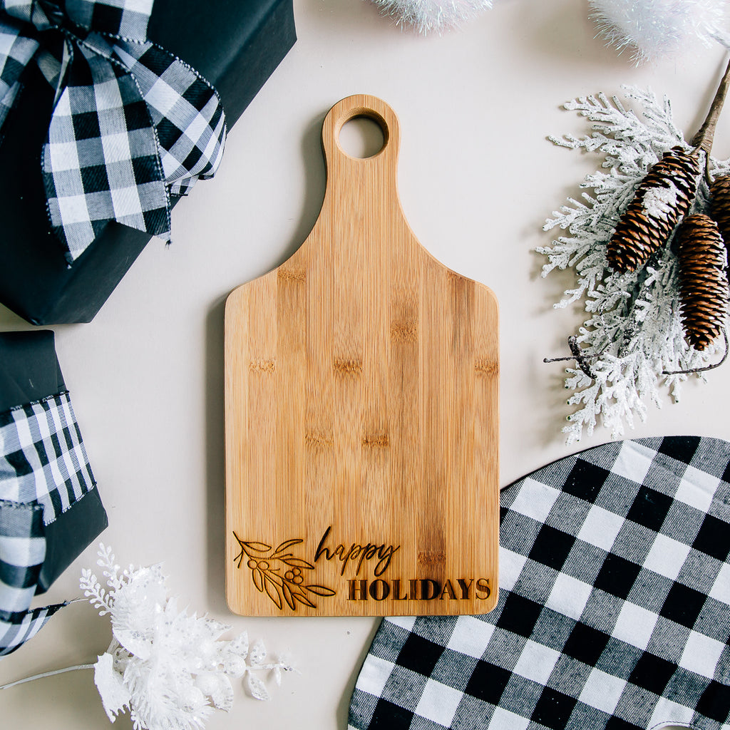 Happy Holidays Paddle Bamboo Cutting Board