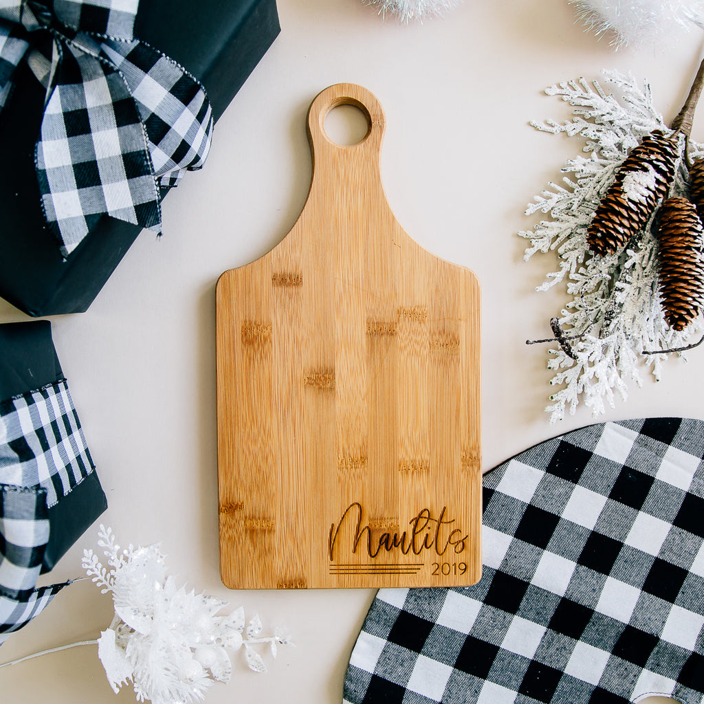 Darling Custom Engraved Last Name Paddle Bamboo Cutting Board