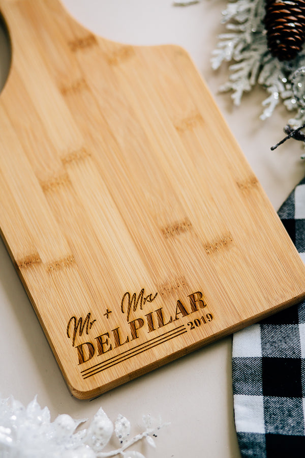 Malibu Newlywed Custom Engraved Paddle Bamboo Cutting Board