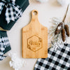 Custom Engraved Floral Geometric Paddle Bamboo Cutting Board
