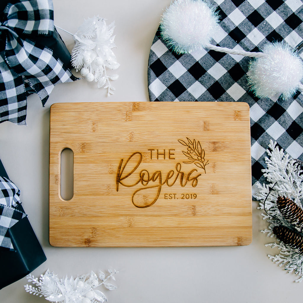 Darling Minimal Custom Engraved Rectangle Bamboo Cutting Board
