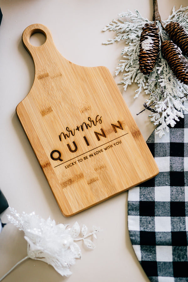 Lucky in Love Custom Engraved Paddle Bamboo Cutting Board